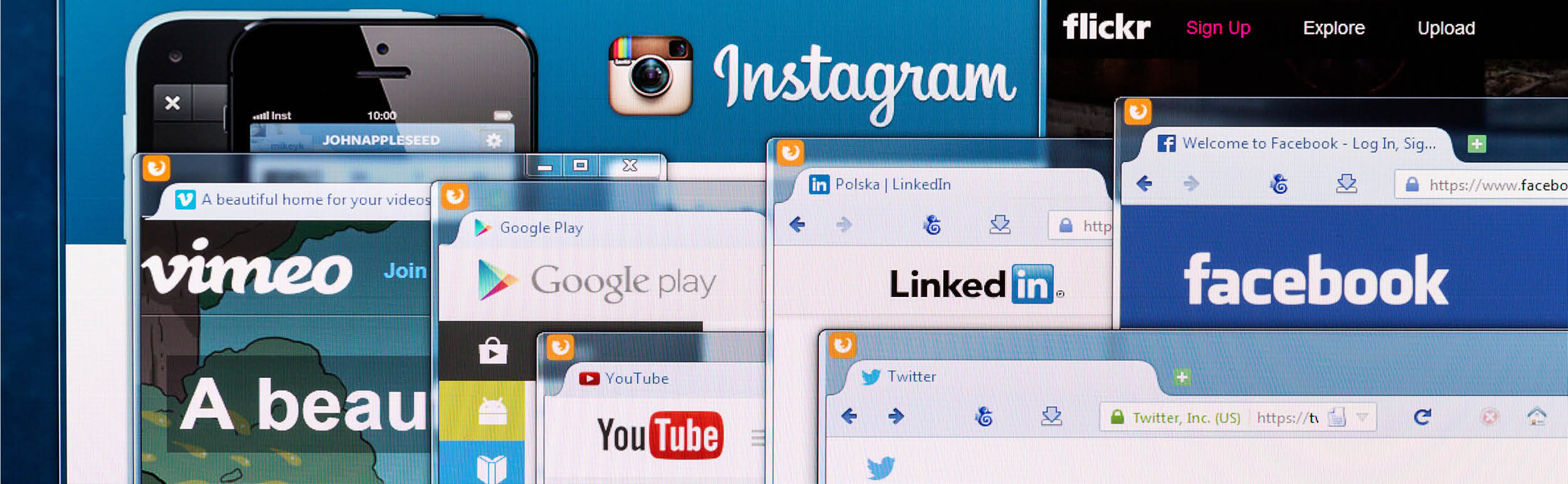 Social medias homepages